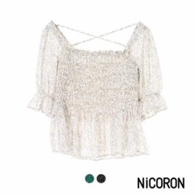 ブラウス レディース 半袖ブラウス 春夏 カットソー 半袖 花柄 シャーリング 可愛い ブランド NiCORON ニコロン セール70% 送料無料