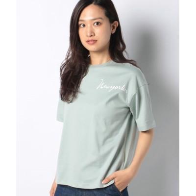 【ニューヨーカー】 天竺ロゴプリントTシャツ レディース ライト グリーン L NEWYORKER