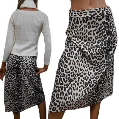 ベージュ系アニマルひょう柄スカート ヒョウ柄スカート ひざ下中途丈フレアースカート ひざ下丈スカート ひざ丈スカート ロングスカート