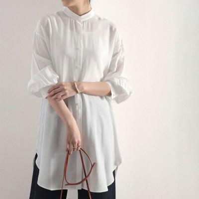 Classical Elf 【M-XL】たっぷりドレープで上品さをプラス。バンドカラーシアーシャツ  M レディース