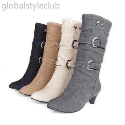 フェイクレザーブーツ ミドルブーツ ローヒールブーツ レディース 靴 秋冬 ベルトデザイン ブーツインOK 安定感 歩きやすい 疲れにくい シンプル