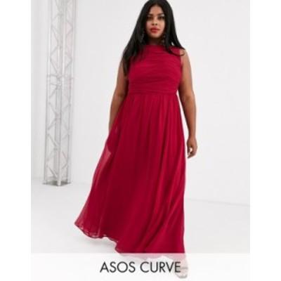 エイソス レディース ワンピース トップス ASOS DESIGN Curve Bridesmaid maxi dress with soft pleated bodice Winter berry