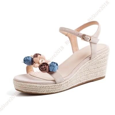 サンダル 厚底 ストラップ 夏 歩きやすい ウエッジソール 大きいサイズ スエード 疲れにくい レディース アンクルストラップ サンダル フラワー 花 可愛い 真珠