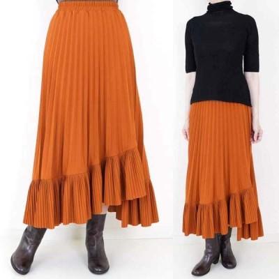 茶プリーツスカート アシメデザイン