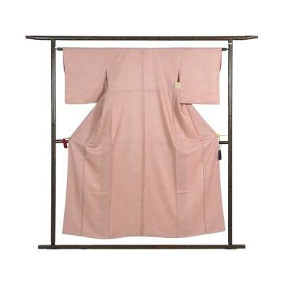 リサイクル着物 小紋 正絹ピンク地たたき染袷小紋着物