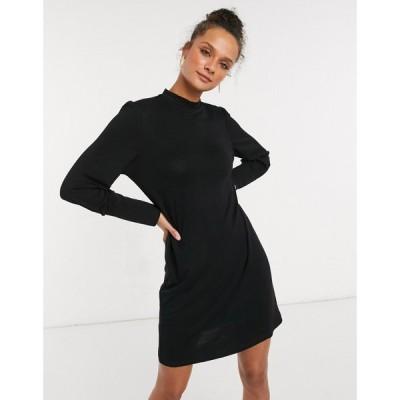 ジェイディーワイ JDY レディース ワンピース ミニ丈 ワンピース・ドレス mini dress with balloon sleeves in black ブラック