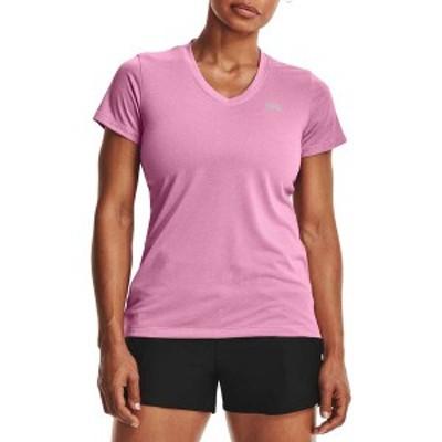 アンダーアーマー レディース シャツ トップス Under Armour Women's Twisted Tech V-Neck Shirt Planet Pink/Stellar Pink