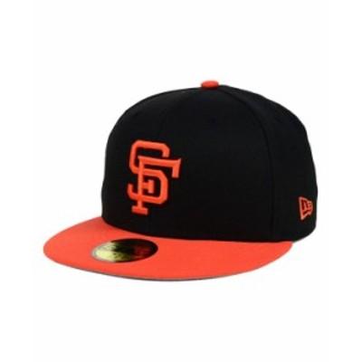 ニューエラ メンズ 帽子 アクセサリー San Francisco Giants MLB Cooperstown 59FIFTY Cap Black/Orange