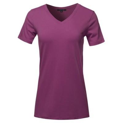 レディース 衣類 トップス A2Y Women's Basic Solid Premium Cotton Short Sleeve V-neck T Shirt Tee Tops Dark Plum S ブラウス&シャツ