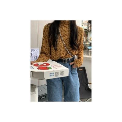 【送料無料】ハイネック フローラルTシャツ 女 秋 韓国風 ルース インナー 着やせ | 364331_A64013-8849479