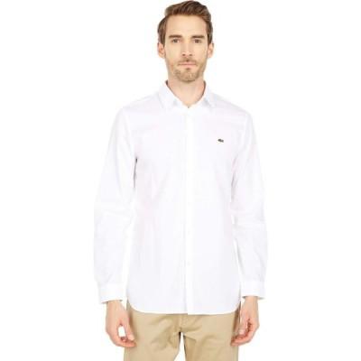 ラコステ Lacoste メンズ トップス Slim Fit Casual Solid Extensible Popeline Shirt White