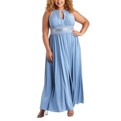 アールアンドエムリチャーズ ワンピース トップス レディース R&M Richards Plus Size Sleeveless Beaded Gown Azure Blue