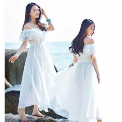 サンドレス 白 フレアロングワンピース 可愛いビーチワンピ ハワイボヘミア風ドレス 無地 オフショル シフォンワンピース ミモレ