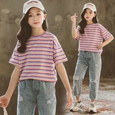 Tシャツ キッズ 子供服 ボーダー柄 おしゃれ 女の子 半袖 コットンシャツ ジュニア こども カジュアル おしゃれ 可愛い 春夏  韓国子供服 120 〜170cm