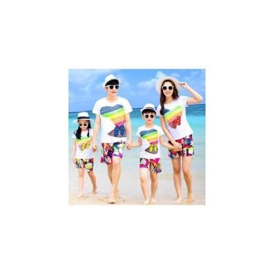 親子 お揃い Tシャツ 半袖 KL ペアルックセット 夏物 親子お揃い服 パパ ママ 女の子 男の子 親子ペア tシャツ+パンツカップ