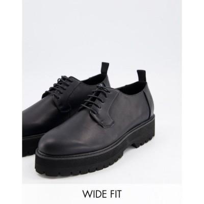 エイソス メンズ スリッポン・ローファー シューズ ASOS DESIGN Wide Fit lace up shoes in black faux leather with raised chunky sole Black