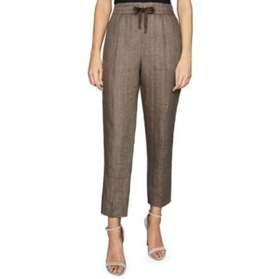 レイス レディース カジュアルパンツ ボトムス Claude Tie Waist Crop Linen Trousers DARK BROWN