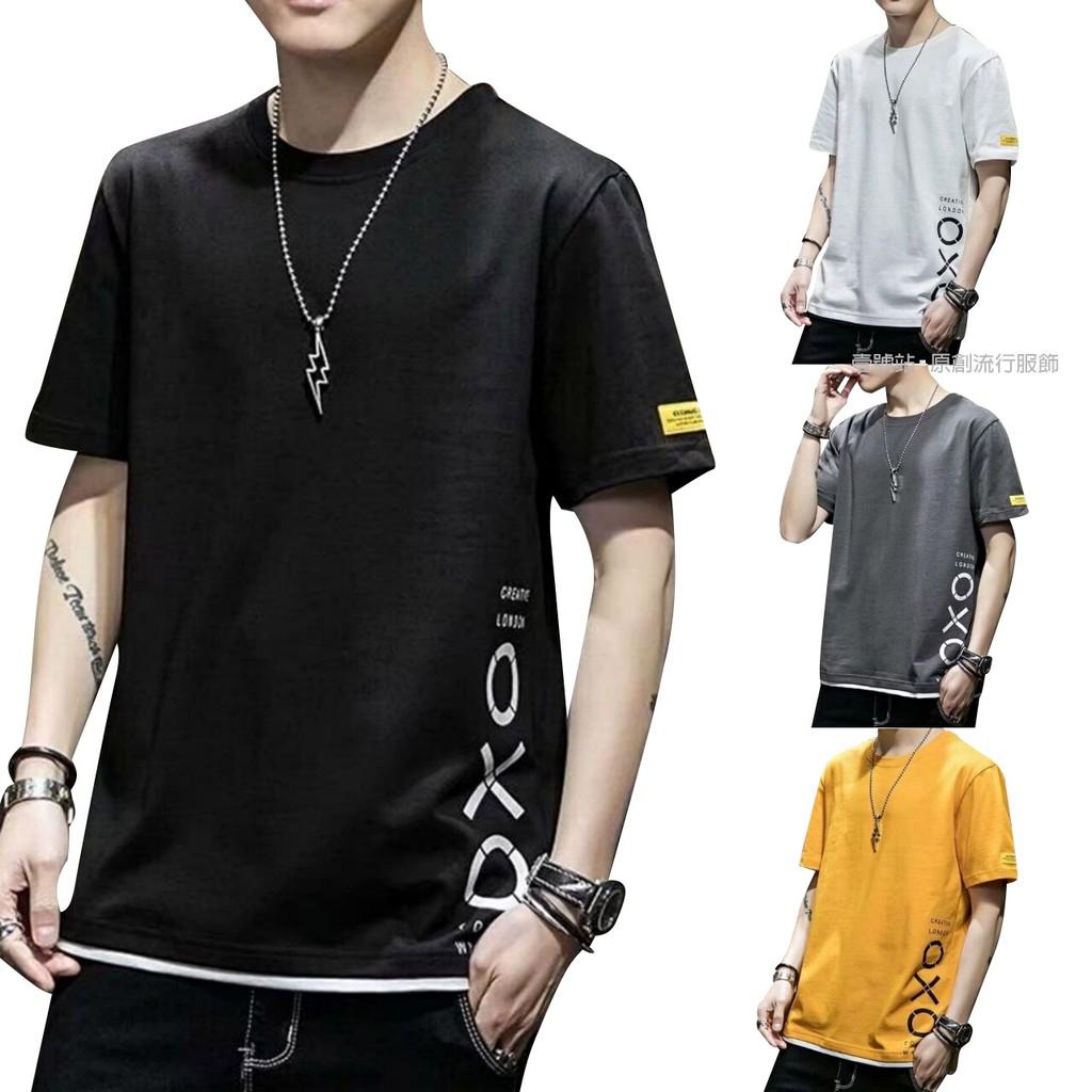 假兩件 穿搭時尚落肩假兩件T恤 超帥短T 寬版 拼接  穿搭必備 素T T恤 男生著衣(LR102)【壹號站】