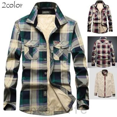 ネルシャツメンズチェックシャツメンズカジュアルシャツ長袖シャツ裏起毛厚手シャツあたたかトップス秋冬