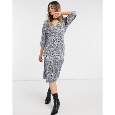 エイソス ASOS DESIGN レディース ワンピース ラップドレス ミドル丈 ワンピース・ドレス midi plisse wrap long sleeve belted dress in blue animal print
