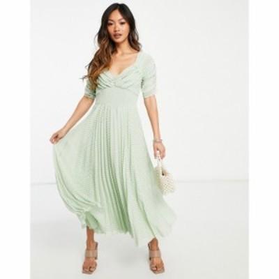 エイソス ASOS DESIGN レディース ワンピース ruched front pleated midi dress with shirred waist in chevron dobby in sage green セ