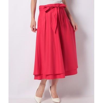 【ラピーヌ ブルー】 ポリエステルコットンブロード リボン付きスカート レディース レッド 38 LAPINE BLEUE