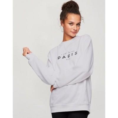 ミスセルフフリッジ レディース パーカー・スウェットシャツ アウター Miss Selfridge 'with love from paris' sweatshirt in white White