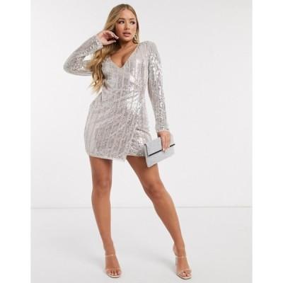 フロック レディース ワンピース トップス Frock and Frill Club allover embellished mini dress in silver