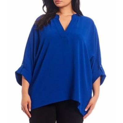 カルバンクライン レディース シャツ トップス Plus Size Stand V-Neck Collar Roll-Tab Sleeve Blouse Klein Blue