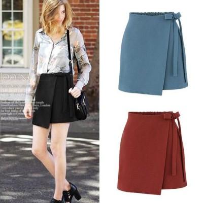スカート パンツ スカート ミニスカート 巻きスカート ウエストリボン ショート ラップスカート 無地 シック オシャレ デート ちょっとしたお出かけ
