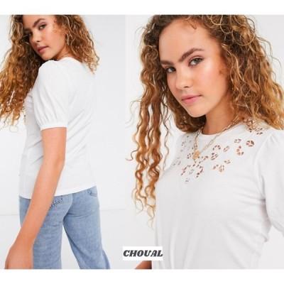 半袖 Tシャツ カットワーク 無地  ホワイト クルーネック 送料無料  エイソス ASOS / Warehouse カットワークTシャツ