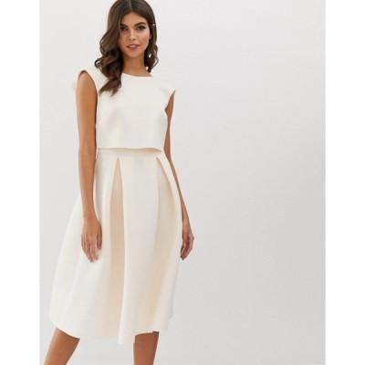 エイソス レディース ワンピース トップス ASOS DESIGN fold back crop top midi prom dress