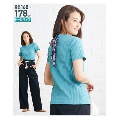 Tシャツ カットソー トールサイズ レディース 異素材 リボン使い バック デザイン リブ トップス MTT/LTT ニッセン nissen