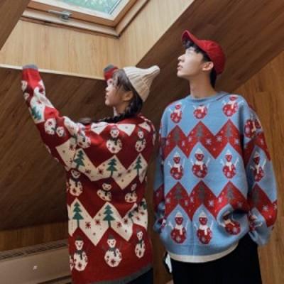 クリスマス クリスマスツリー ペアルック セーター メンズ レディース 学生 ゆったり 赤 男女兼用 厚手 秋冬 韓国 レジャーセーター ニッ