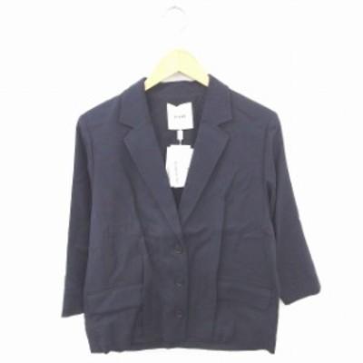 【中古】未使用品 クラネ CLANE タグ付き ジャケット アウター テーラード シンプル ウール混 長袖 36 紺 ネイビー