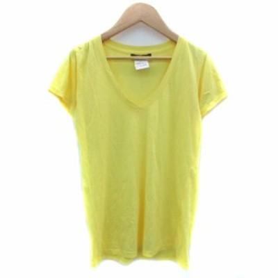 【中古】スタニングルアー STUNNING LURE Tシャツ カットソー 半袖 Vネック F イエロー 黄色 /YM25 レディース