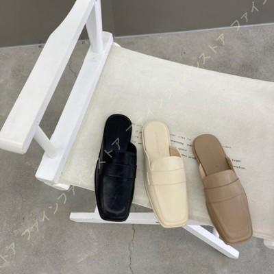 ミュールサンダル レディース ぺたんこ 大きいサイズ 春夏 ミュール サンダル 歩きやすい おしゃれ 可愛い きれい シンプル つっかけ リゾート靴 痛くない
