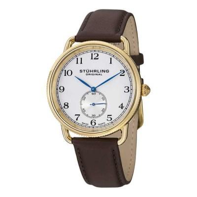 ストゥーリングオリジナル腕時計Stuhrling Original メンズ 207.03 クラシック Cuvette ブラウン レザー スイス クォーツ 腕時計