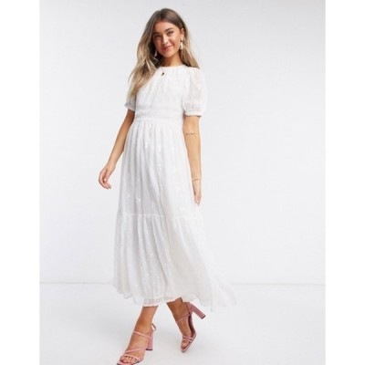 エイソス レディース ワンピース トップス ASOS DESIGN mixed embroidery tiered maxi dress with open back in white