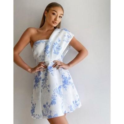エイソス レディース ワンピース トップス ASOS DESIGN one shoulder skater mini dress in floral print