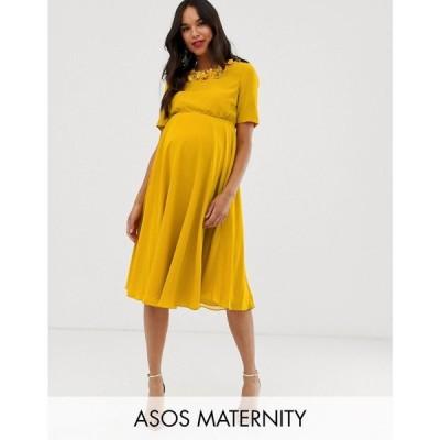 エイソス ASOS Maternity レディース ワンピース ワンピース・ドレス ASOS DESIGN Maternity crop top embellished neckline midi dress Mustard