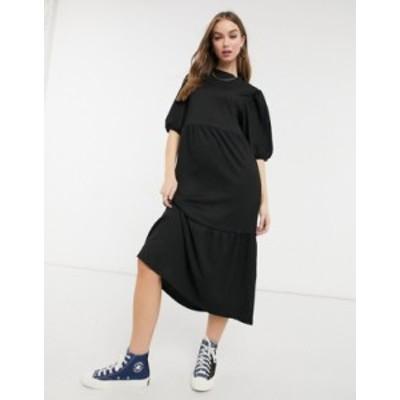 ニュールック レディース ワンピース トップス New Look midi tiered smock dress in black Black