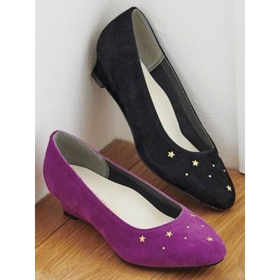 【大きいサイズ】<5E相当>幅広ゆったりスターデザインパ 大きいサイズ シューズ(靴) レディース