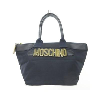 【中古】モスキーノ MOSCHINO ロゴ ナイロン ハンドバッグ トートバッグ 舟形 ネイビー 紺 1025 NVW レディース 【ベクトル 古着】