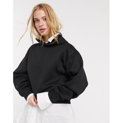 ウィークデイ レディース パーカー・スウェット アウター Weekday Jimena cropped hoodie in black