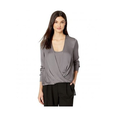 BCBGMAXAZRIA ビーシービージーマックスアズリア レディース 女性用 ファッション ブラウス Wrap Long Sleeve Woven Top - Graphite
