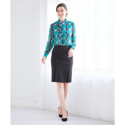 NARA CAMICIE 【セットアップ対応商品】ポンチタイトスカート(ブラック)