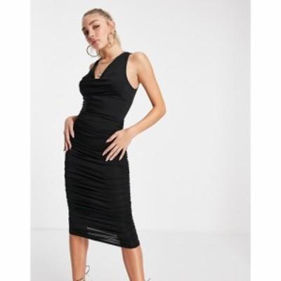 アックスパリス AX Paris レディース ワンピース ミドル丈 ワンピース・ドレス cowl neck midi dress in black ブラック