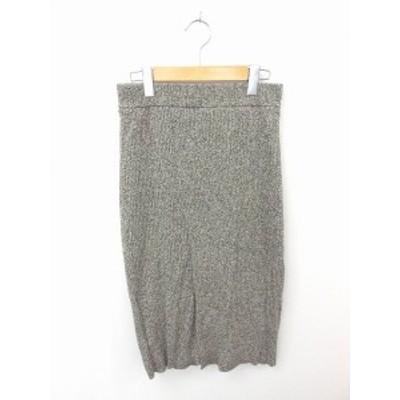 【中古】ユナイテッドアローズ UNITED ARROWS スカート タイト ロング ニット 無地 シンプル シルク 綿 茶 白
