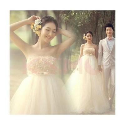 ウエディングドレス 結婚式 二次会   安い プリンセス エンパイア 花嫁 ドレス 白 披露宴 ロング 大きいサイズ シンプルドレス